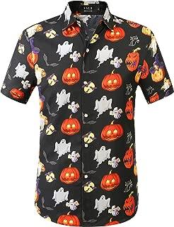 Men's Fun Pumpkins Button Down Short Sleeve Halloween Shirt