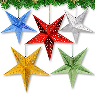 Christmas Paper Stars Lantern Decorations - Set of 5 Colors - 24 Inches Large and Colorful Party Stars (Lights Not Included)