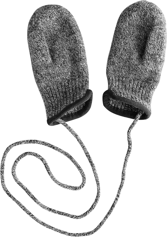 tittimitti 100% Virgin Wool Baby Toddler Kids Thumbed Mittens with String. OEKO-TEX Standard 100