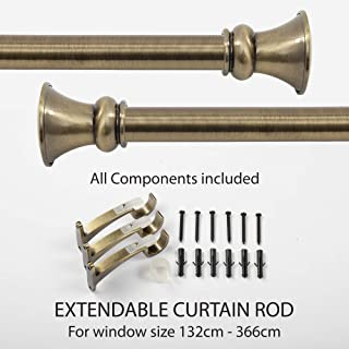 Deco Window 1 Inch Adjustable Antique Brass Curtain Rod for Windows Curtains with Egyption Decorative Finials & Brackets Set - 52