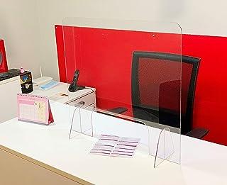 Mampara de protección con Ventana - Mostrador, oficina, comercio, restaurante - Metacrilato transparente - 65x60cm