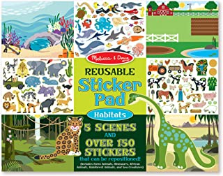 Melissa & Doug Habitats Reusable Sticker Pad (Extra Large Sticker Activity Pad, Removable Backgrounds, 150 Stickers, Great Gift for Girls and Boys - Best for 3, 4, 5 Year Olds and Up)