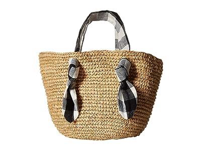 Loeffler Randall Hazel Straw Tote (Natural/Black) Tote Handbags