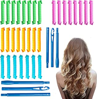30 Pcs Hair Curlers Spiral Curls Heatless Hair Curlers Styling Kit with 2 Pieces Styling Hooks for Most Kinds of Hairstyle...