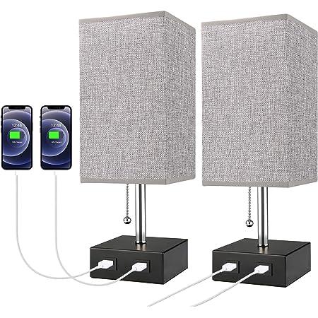 Lampe de Chevet, Lovebay Lampe de Table avec 2 Ports USB, 3 Niveaux de Luminosité RéGlables E27 Lampe de Chevet Moderne pour Chambre Table Salon Bureau, Grise Lot de 2