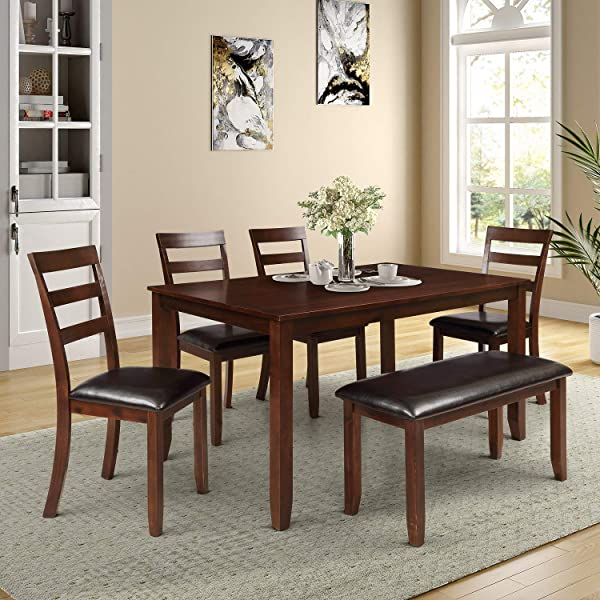 Danxee 6pc Dining Set With 4 Ladder Chairs And Bench Solid Wood Dining Set With Table 4 Chairs And Bench
