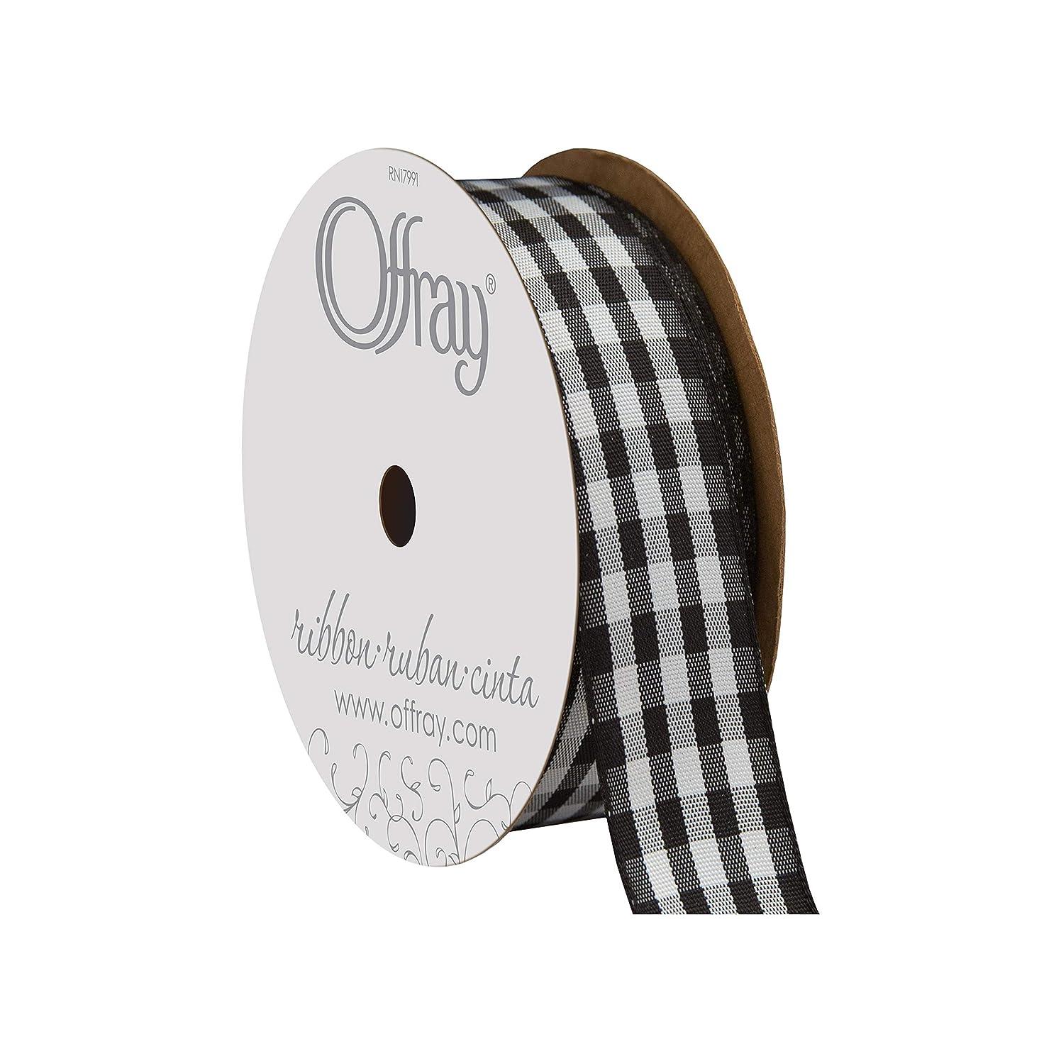 Offray Taffeta Gingham Check Craft Ribbon, 7/8-Inch x 9-Feet, Black