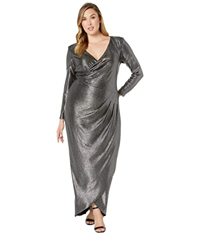 Adrianna Papell Plus Size Metallic Jersey Gown (Black/Gunmetal) Women