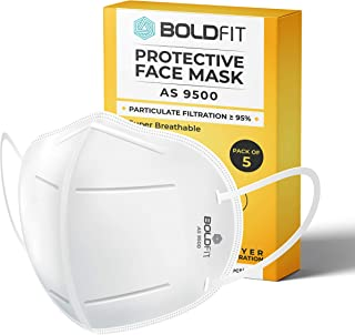 Boldfit N95 mask for face (Pack of 5) Anti Pollution, protective.Third Party Tested by manufacturer at SGS & Ministry of T...