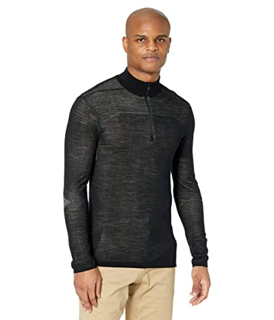Smartwool Intraknit Merino 200 1/4 Zip (Black/White) Men