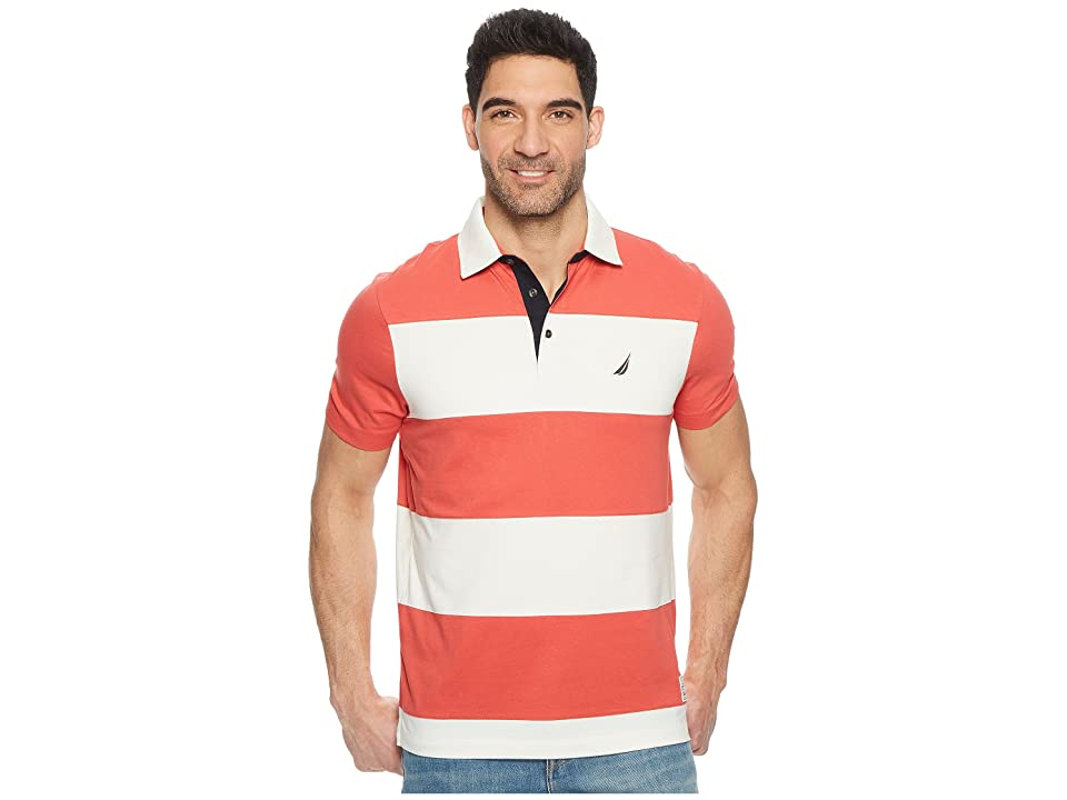 Nautica Short Sleeve Rugby Stripe Polo (Sailor Red) Men