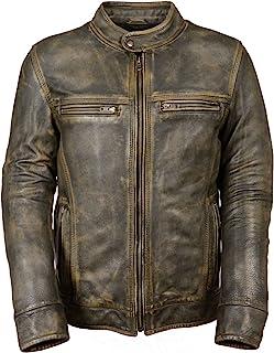 Big Mens Distressed Brown Motorcycle Jacket-Vents