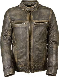 Milwaukee Leather Big Mens Distressed Brown Motorcycle Jacket-Vents