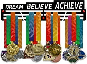 VICTORY HANGERS Dream Believe Achieve Medal Houder Display Rack - 3 Bars Zwart Gecoat 3 mm Staal Metalen Hanger met Wall M...