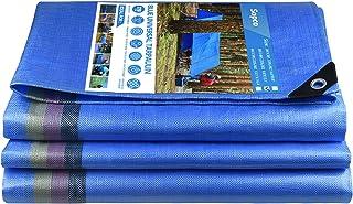 Heavy Duty Tarpaulin Waterproof Tarp Blue Woven Sheet with Reinforced Eyelets 220 GSM UV&Tear Resistant Multi-Purpose Tarp...