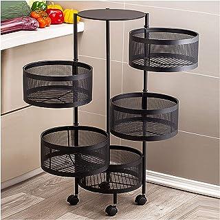 Étagère de rangement rotative multicouche pour cuisine ou salon (noir, 5 niveaux)