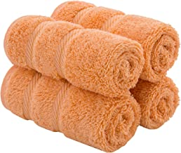 American Soft Linen Premium Turkish Genuine Cotton, Luxury Hotel Quality for Maximum Softness & Absorbency for Face, Hand, Kitchen & Cleaning (4-Piece Washcloth Set, Malibu Peach)
