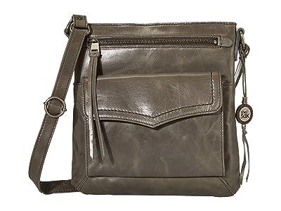 The Sak Ventura Leather Flap Organizer Crossbody (Slate) Handbags
