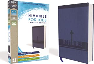 NIV, Bible for Kids, Large Print, Leathersoft, Blue, Red Letter, Comfort Print: Thinline Edition