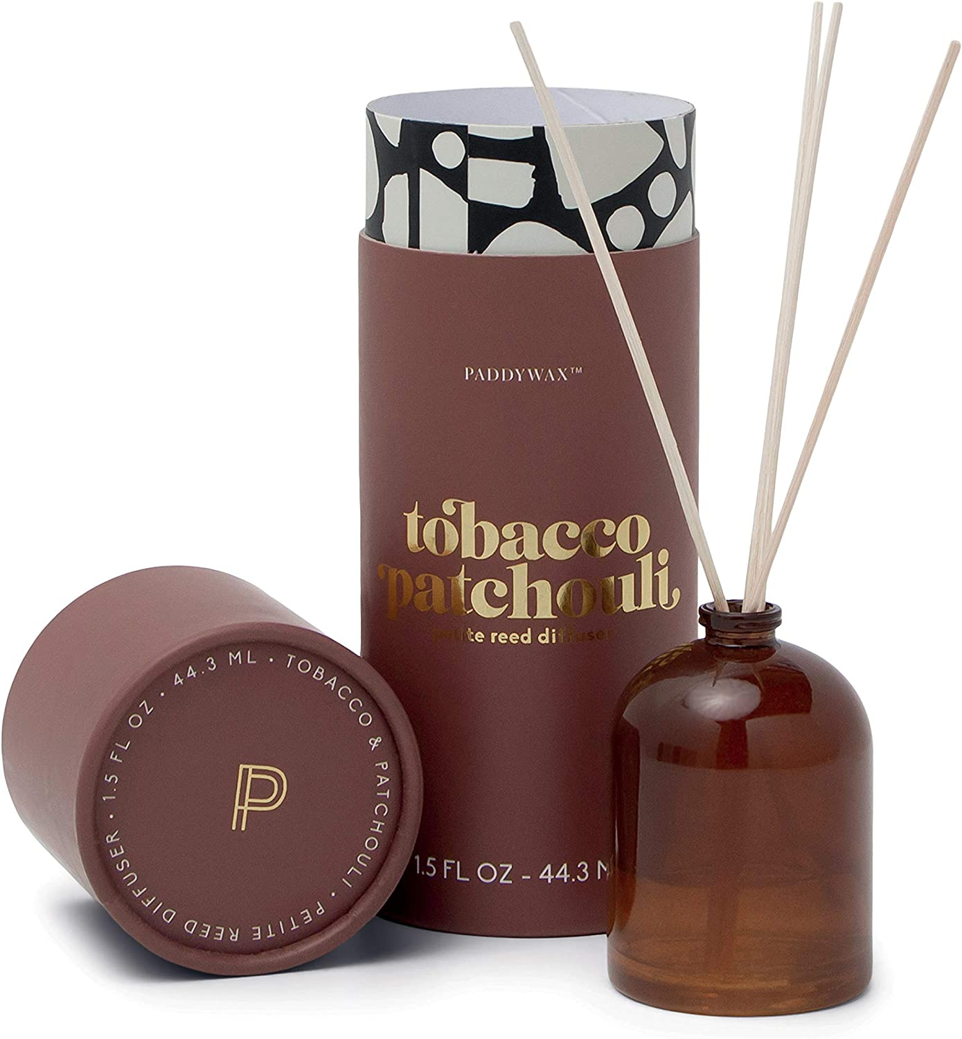 Paddywax Candles Petite Collection Reed Diffuser, 1.5-Ounce, Brown-Tobacco Patchouli