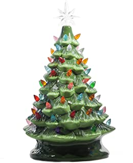 ReLive Christmas is Forever Lighted Tabletop Ceramic Tree, 14.5-Inch Green Tree with Multicolored Lights