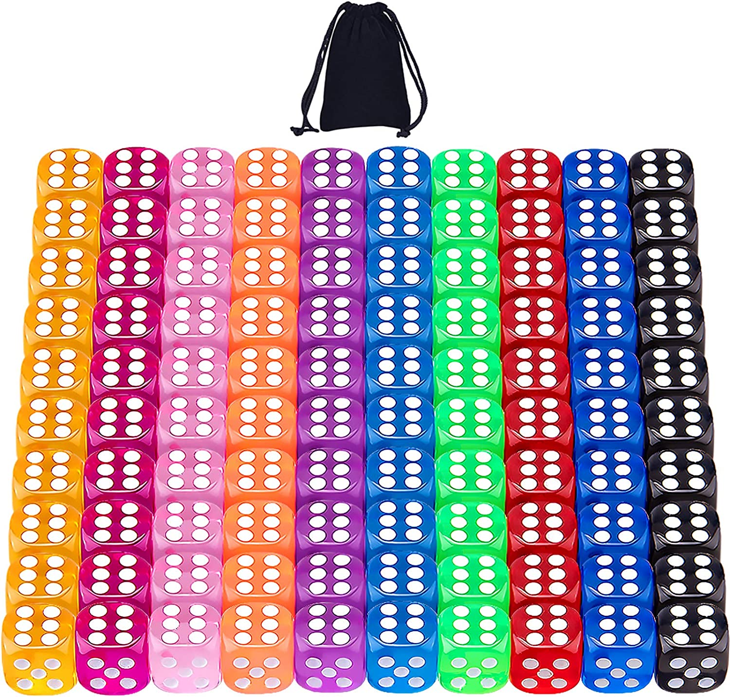 AUSTOR 100 Pieces 6 Sided Game Dice 12mm Translucent Colors Round Corner Dices Set for Tenzi, Farkle, Yahtzee, Bunco or Teaching Math with a Drawstring Storage Bag