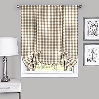 Achim Home Furnishings, Taupe & Ivory Buffalo Check Window Curtain Tie Up Shade, 42