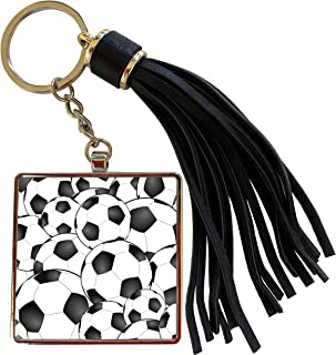 3dRose InspirationzStore Sports - Soccer balls pattern. Black and white footballs sport sports sporty sporting game team player - Tassel Key Chain (tkc_161509_1)