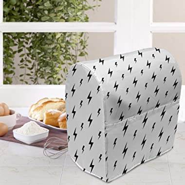 Ambesonne Black and White Stand Mixer Cover, Thunderbolts Zig Zag Pattern Electric Charge Simple Illustration, Kitchen Applia
