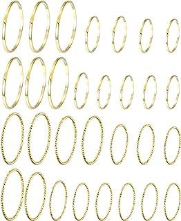 HAIAISO 30 قطعة خواتم تكديس المفاصل للنساء 14K الذهب مطلي بسيطة أنيقة رقيقة ميدي خواتم مجموعة