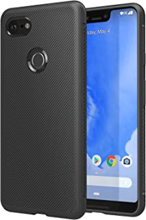 MoKo Cover Compatible for Google Pixel 3 XL Case, Lightweight Shockproof Protective Phone Cover, TPU Bumper Edge Twill Phone Case for Google Pixel 3XL - Black