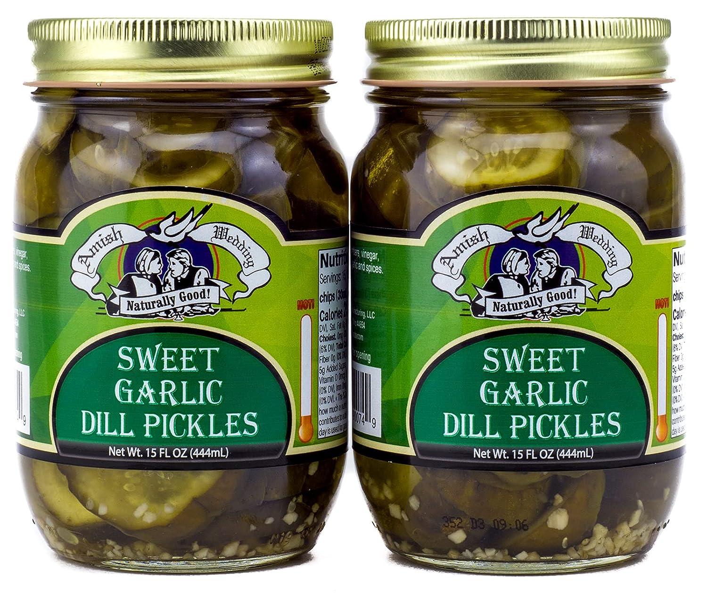 Amish Wedding All-Natural Long-awaited Sweet Garlic Dill Pickles Max 61% OFF Ounces 15 2