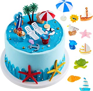 24 Pieces Hawaiian Beach Cake Decoration Green Palm Tree Cake Toppers Summer Beach Chair Umbrella Cake Toppers for Hawaiia...