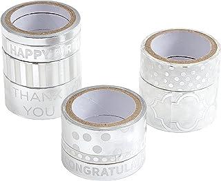 Darice 30030712 Washi Tape Assortment, White/Silver