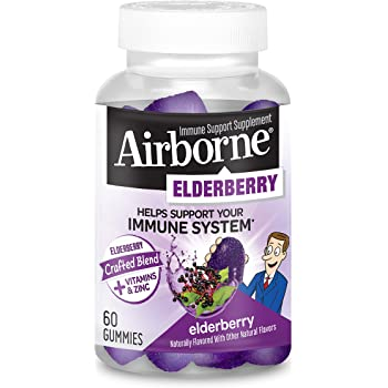 Elderberry + Vitamins & Zinc Crafted Blend Gummies, Airborne (60Count in A Bottle), Gluten-Free Immune Support Supplement with Vitamins C, D & E That Has No Artificial Sweeteners (Pack of 1)