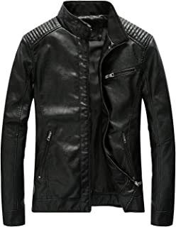 Fairylinks Leather Jacket Men Black Slim Fit Motorcyle Lightweight