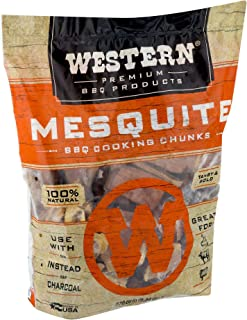 WESTERN Premium BBQ Bagged and Heat Treated Wood Cooking Chunks, for Charcoal or Gas Grills and Smokers, Mesquite Flavor, ...