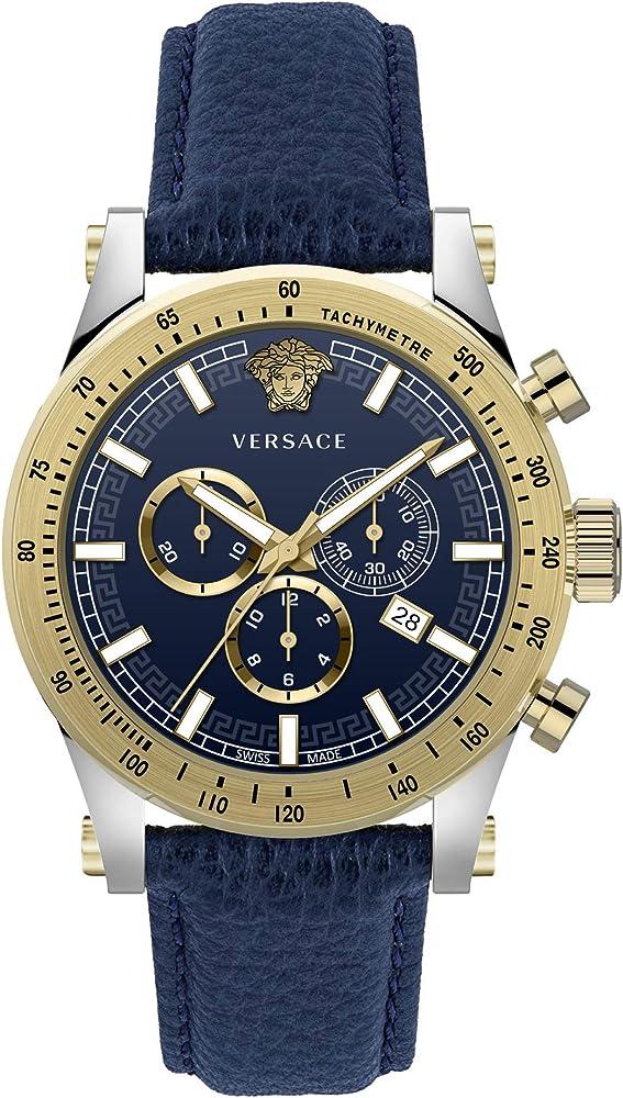 Versace  sporty ,orologio,cronografo per uomo,in acciaio inossidabile e cinturino in vera pelle VEV800219