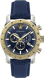 Montre Chronographe Versace Sporty Bleu Cuir Argent Or Acier 44mm VEV800219