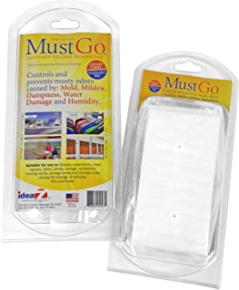 MustGo Odor Eliminator Solid Bar - Controls and Prevents Damp, Musty, Mildew Odors in Closets, Basements, Attics and Storage Units - Unscented (2 Pack)