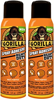 Gorilla JERVRG 6301502 Spray Adhesive, Clear, 2 Pack (14 Oz/Pack)