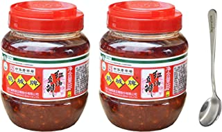 Sichuan Pixian Boad Bean Paste with Red Chili Oil - 17.6 oz (500g) 2 Pack with Free Steel Spoon (2-Pack)