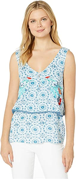 Printed Crinkle Gauze Sleeveless Layered Top with Embroidery