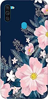 SharpEseller White Pink Flower Printed Soft Designer Mobile Back Cover for Samsung Galaxy M11