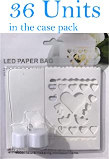 Heart Shaped LED Tealight Candles, Case Pack 36 Units (36 Candle Holder Bags Plus 36 Heart Shaped LED Tealight Candles) Thick Paper Stock Bags, LED Tealights, White, Batteries Included