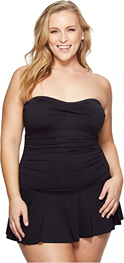 LAUREN Ralph Lauren - Plus Size Beach Club Solid Twist Skirted Underwire One-Piece