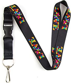 Autism Awareness Love Puzzle Piece Lanyard Keychain and ID Holder with Detachable, Breakaway Buckle for Keys or Badge | Polyester Necklace (Black)