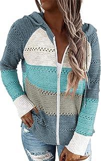 Women Casual Long Sleeve Zip Up Hooded Sweatshirt Hoodies, S-XXL