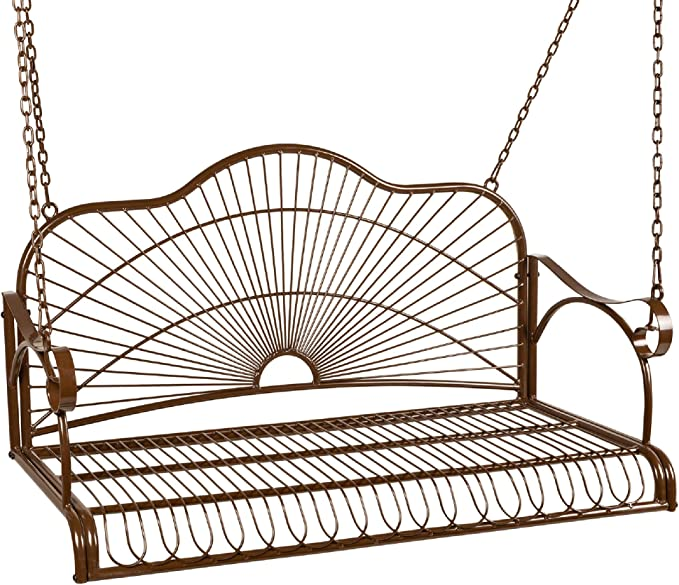 Best Choice Products Iron Porch Swing Chair – The Porch Swing with a Curved Seat