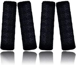 4 Pieces 30 CM Faux Rabbit Wool Fur Fabrics Car Seat Belt Pads Seatbelt Protector Soft Shoulder Strap Covers Harness Pads for Comfortable Driving, Driver Favors (Long Style, Black)